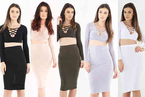 Verso Fashion - Lattice co-ord set choose from five fabulous colours - Save 64%