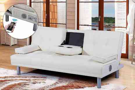 IT Ideas - Manhattan bluetooth faux leather sofa bed choose from three colours - Save 70%