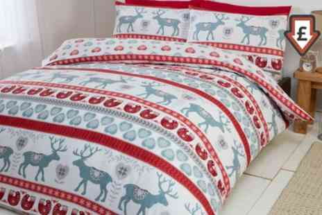 Groupon Goods Global GmbH - Flannelette Nordic Print Duvet Set in Choice of Size and Design - Save 72%