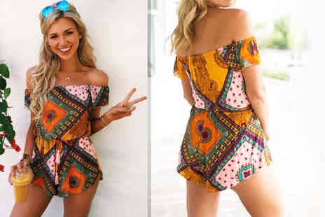 Verso Fashion - Off shoulder paisley playsuit - Save 64%