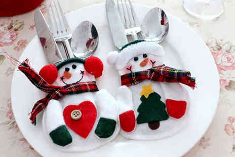 Hawt Online - Pack of four, eight or 12 snowman cutlery covers - Save 84%