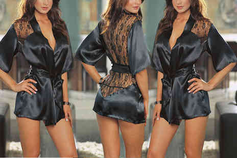 Trifolium Lingerie - Black satin and lace robe select your size - Save 62%