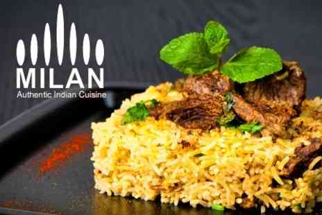 Milan Indian Cuisine - Three Course Meal For Two With Side Dish, Rice and Naan Each - Save 66%