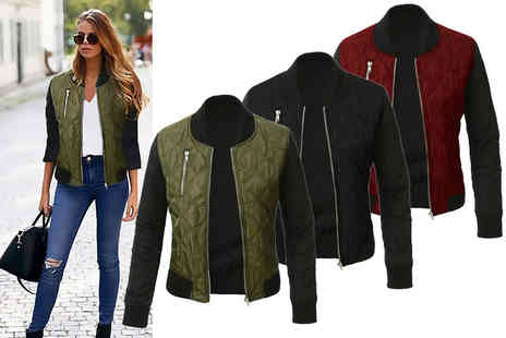 Jewleo - Womens zip bomber jacket choose from three colours - Save 80%