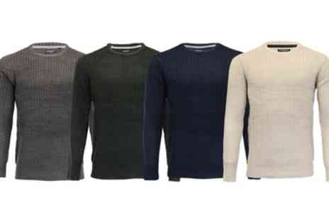 Groupon Goods Global GmbH - Brave Soul Cable Knit Mens Crew Jumper - Save 0%