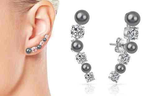 Groupon Goods Global GmbH - One or Two Pairs of Grey Pearl Climber Earrings - Save 81%