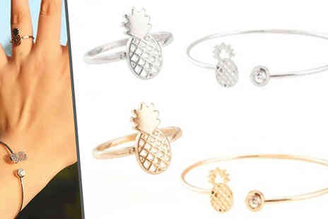 Jewleo - Pineapple Ring & Bangle Set  Choose 2 Colours - Save 80%