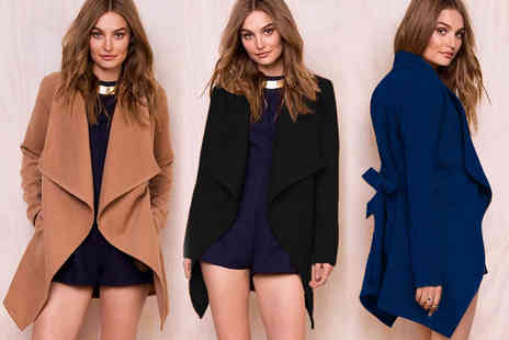 Jewleo - Womens woollen waterfall trench coat - Save 70%