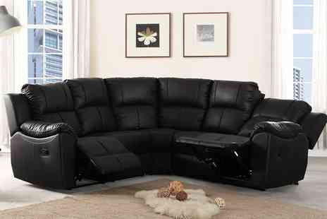 Groupon Goods Global GmbH - Harvard Reclining Leather Corner Sofa With Free Delivery - Save 67%