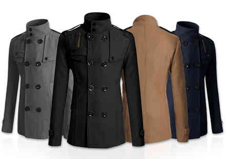Jewleo - Mens slim fit military coat select from four colours - Save 71%