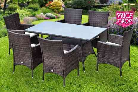 MHStar Uk - Outsunny seven piece rattan dining set including a glass topped table and six chairs - Save 59%