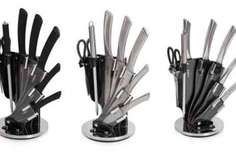 Groupon Goods Global GmbH - Tower Seven Piece Knife Set with Stand in Choice of Design - Save 70%