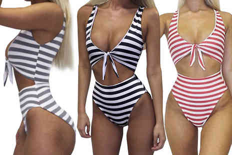 Anarchy Fashion - High Waisted Striped Monokini Choose 3 Colours - Save 58%