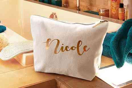 Treats on Trend - Large gold personalised makeup bag - Save 55%