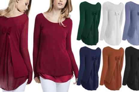 Groupon Goods Global GmbH - Bow Back Jumper with Chiffon Insert in Choice of Colour - Save 0%