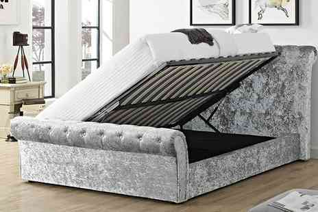 Groupon Goods Global GmbH - Cavendish Crushed Velvet Storage Bed with optional Orthopedic Mattress Include Free Delivery - Save 65%
