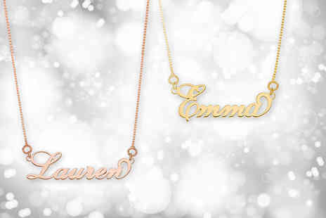 Optima Manufacturing Jewellers - Personalised name necklace choose from yellow or rose gold plated - Save 73%
