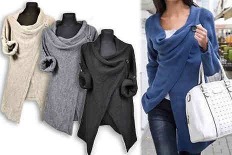 Jewleo - One button wrap around cardigan choose from three sizes and four colours - Save 83%