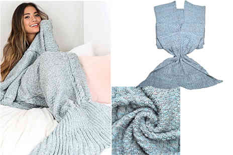 Jewleo - Adults knitted mermaid blanket choose from two colours - Save 68%