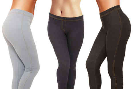 Ckent - Pair of ladies jeggings in black, navy or sky blue - Save 80%