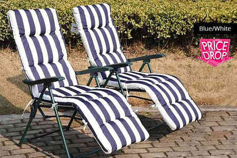 MHStar Uk - Two superior comfort deck chairs choose from three colours - Save 75%