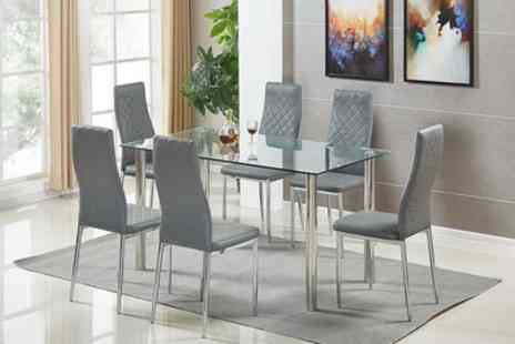 Groupon Goods Global GmbH - Tempered Glass Table with Six Chairs in Choice of Colour With Free Delivery - Save 43%