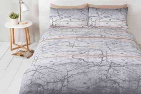 Groupon Goods Global GmbH - Rapport Home Marble Print Duvet Cover Set in Choice of Colour - Save 73%