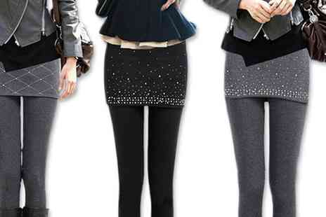 Groupon Goods Global GmbH - Rhinestone Trim Skirt Leggings in Choice of Size - Save 0%