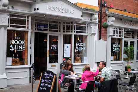 The Hook and Line - Two Course Fish and Chip Meal with Tea or Coffee for Two or Four - Save 51%