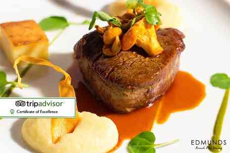 Edmunds - Two course French fine dining lunch with a hot drink for two or three course dinner for two - Save 58%