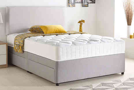 Majestic Furnishings - Radley fabric Divan, with optional drawers select from four colours, upgrade to include a mattress and drawers - Save 72%