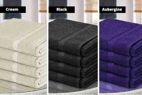 Fusion Homeware - Four Egyptian cotton bath towels select from 12 colours - Save 82%