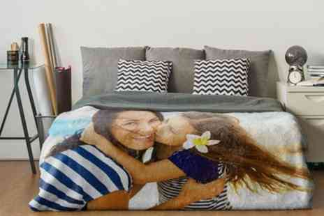 Photo Gifts - Standard or Premium Personalised Polar Fleece Blanket in a Choice of Size - Save 82%