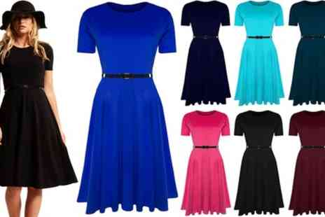 Groupon Goods Global GmbH - Short Sleeve Skater Midi Dress Available Up to Size 26 - Save 0%