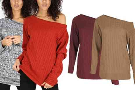 Groupon Goods Global GmbH - Be Jealous Womens Off Shoulder Knitted Jumper Available up to Size 22 - Save 0%