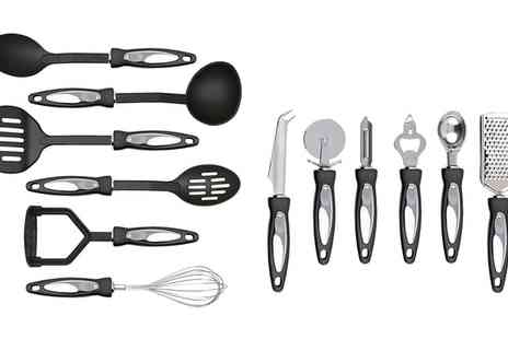 Groupon Goods Global GmbH - 12 Piece Stainless Steel Cooking Utensil Set with Nylon Handles - Save 70%