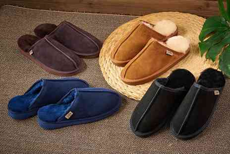 Groupon Goods Global GmbH - Mens Genuine Suede Sheepskin Slippers - Save 72%