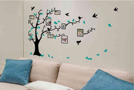 Fab Deco - Family tree wall sticker with photo frames and customisable branches - Save 80%