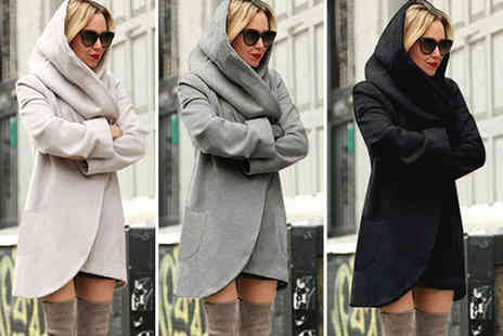 Verso Fashion - Ladies hooded woollen jacket choose from sizes 6 to 14 - Save 47%
