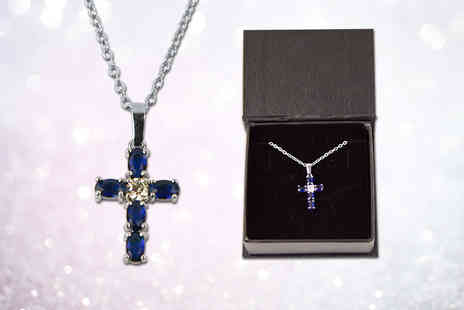 Your Ideal Gift - Created sapphire cross necklace - Save 86%