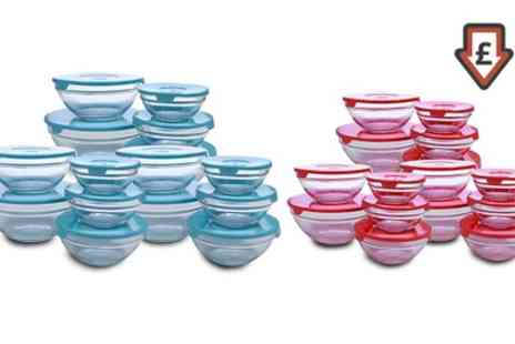 Groupon Goods Global GmbH - 15 Glass Bowls in Red or Blue - Save 65%