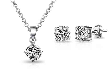 Groupon Goods Global GmbH - One or Two Philip Jones Solitaire Sets with Crystals - Save 80%