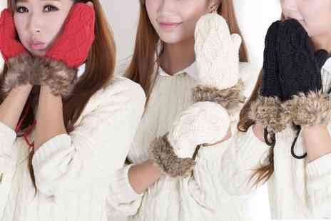 Groupon Goods Global GmbH - One or Two Pairs of Cotton Knitted Gloves with Faux Fur Trimming - Save 76%