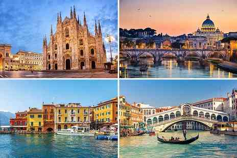 Crystal Travel - Eight night Venice, Rome, Florence and Milan break including return flights and train transfers - Save 25%
