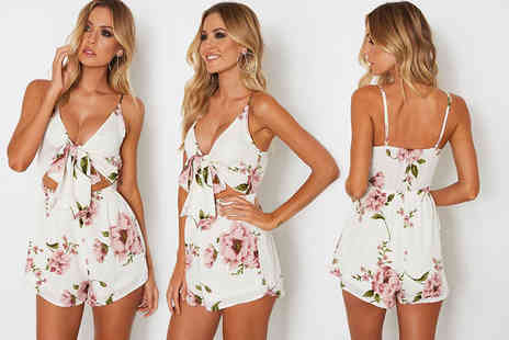 Verso Fashion - Tie front floral playsuit select from UK sizes 6 To 14 - Save 70%