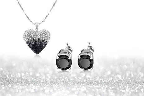 Evoked Design - Black and silver ombre heart necklace and earrings set - Save 88%