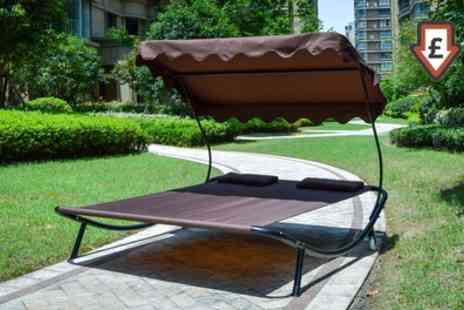 Groupon Goods Global GmbH - Double Size Outdoor Sun Bed Loungers with Canopy With Free Delivery - Save 70%