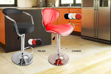 Direct 2 Publik - Two stylish faux leather breakfast bar stools choose from six designs in a range of colours - Save 60%