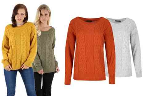 Groupon Goods Global GmbH - Be Jealous Womens Cable Knitted Jumper Available up to Size 22 - Save 0%