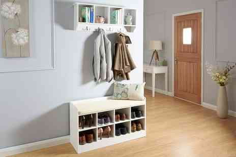 Groupon Goods Global GmbH - Kempton Hallway Wall Rack, Shoe Bench or Both With Free Delivery - Save 39%